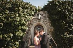 Het paar die van het luxehuwelijk en op de schitterende installaties koesteren kussen als achtergrond, holt dichtbij oud kasteel  Royalty-vrije Stock Foto's