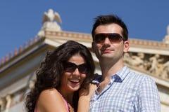 Het paar doet sightseeing in Athene Royalty-vrije Stock Foto's