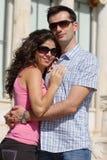 Het paar doet sightseeing in Athene Stock Foto's