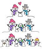 Het Paar en de Familie van de sneeuwman Royalty-vrije Stock Foto's