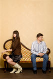 Het paar heeft inbreuk tegen elkaar genomen Stock Fotografie