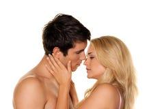 Het paar heeft pret. Liefde, erotiek en tederheid Royalty-vrije Stock Foto