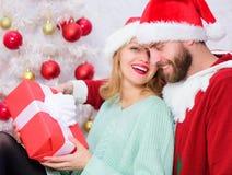 Het paar in liefde geniet van de viering van de Kerstmisvakantie De traditie van familiekerstmis Het vieren Kerstmis samen loving royalty-vrije stock fotografie