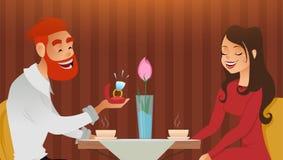 Het paar in liefde, romantische avond in restaurant of koffie, jonge mens stelt ring met grote diamant aan zijn geliefd voor clos stock illustratie