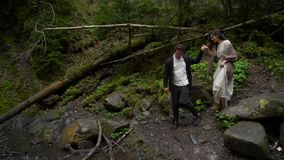 Het paar loopt in het hout stock videobeelden