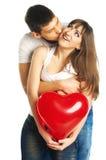 Het paar met een groot hart Royalty-vrije Stock Afbeeldingen