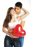 Het paar met een groot hart Stock Foto's