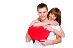 Het paar met een rood hoort Royalty-vrije Stock Afbeeldingen
