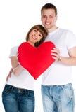 Het paar met een rood hoort Royalty-vrije Stock Foto