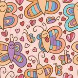 Het paar naadloos patroon van de vlinderglimlach Stock Foto's
