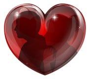 Het paar silhouetteert hart Stock Fotografie