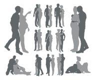 Het paar silhouetteert zwangere vrouw Royalty-vrije Stock Fotografie