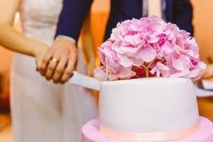 Het paar sneed de huwelijkscake, cake dichte omhooggaand, een grote witte cake Stock Foto