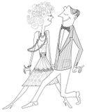 Het paar van ballroom dansen stock illustratie