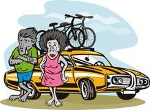 Het paar van de baviaan met auto vector illustratie