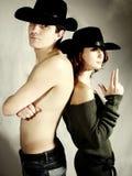 Het paar van de cowboy   stock fotografie