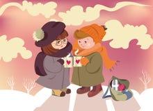 Het paar van de de dagkaart van Valentine in liefdekinderen stock illustratie