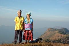 Het paar van de de heuvelstam van Karen in Mae Hong Son, Thailand Stock Fotografie