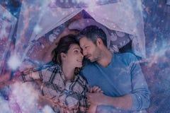 Het paar van de droomnacht Stock Afbeeldingen