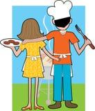 Het Paar van de grill stock illustratie