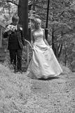 Het paar van de jonggehuwde in bos Stock Foto