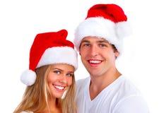 Het paar van de Kerstmiskerstman Stock Foto