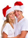 Het paar van de Kerstmiskerstman Royalty-vrije Stock Foto's