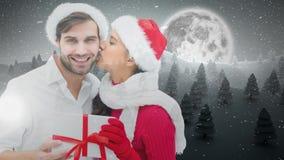 Het paar van de Kerstmiswinter met bos en maan en gift stock illustratie