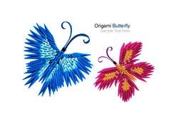Het paar van de origamivlinder Stock Afbeelding