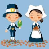 Het Paar van de Pelgrim van thanksgiving day Stock Fotografie