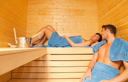 Het paar van de sauna stock afbeelding