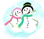 Het Paar van de sneeuwman   Royalty-vrije Stock Foto