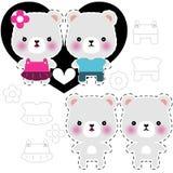 Het paar van de teddybeer vector illustratie