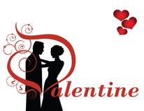 Het paar van de valentijnskaart Stock Afbeeldingen