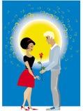 Het paar van de valentijnskaart Stock Afbeelding