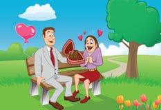 Het paar van de valentijnskaart Stock Foto's