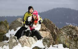 De winterpaar royalty-vrije stock foto