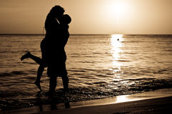 Het Paar van de zonsondergang Stock Foto's
