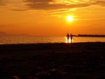 Het paar van de zonsondergang Royalty-vrije Stock Afbeelding