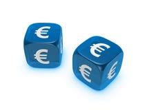 Het paar van doorzichtig blauw dobbelt met euro teken Stock Foto's