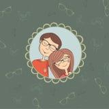 Het paar van Enamoured van jongen en meisje in oogglazen Royalty-vrije Stock Foto's