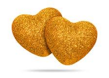 Het paar van Gouden die hart met schittert textuur op witte achtergrond wordt geïsoleerd De vorm van het hart stock afbeeldingen