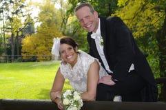 Het paar van het huwelijk in de herfst/daling royalty-vrije stock fotografie