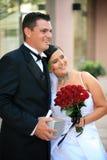 Het paar van het huwelijk - onlangs Weds stock afbeeldingen