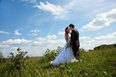 Het paar van het huwelijk in zonnige de zomerdag Stock Fotografie