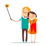 Het paar van het Selfiebeeldverhaal Stock Foto