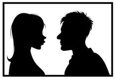 Het paar van het silhouet Royalty-vrije Stock Afbeeldingen