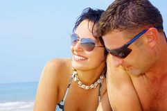 Het paar van het strand Stock Fotografie