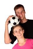 Het paar van het voetbal Stock Foto