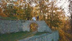Het Paar van het huwelijk Mooie bruidegom en bruid die op blijven overblijfselen van een vernietigd gebouw in de bos Gelukkige fa stock video